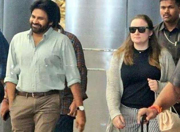 Pawan Kalyan Spotted with his Wife Anna Lezhneva Photos