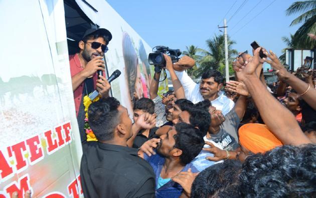 Pratiroju Pandaga Movie Team Bus Tour Photos