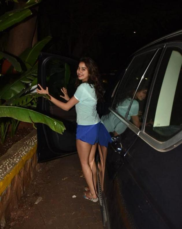 Janhvi Kapoor Spotted in Blue Short Photos