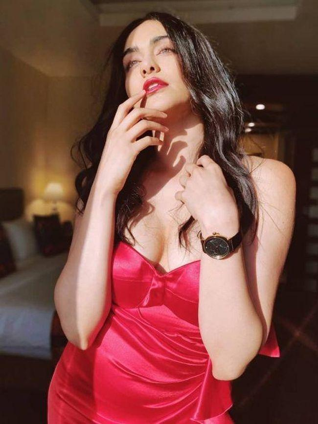 Adah Sharma Teasing Looks In Red Outfit