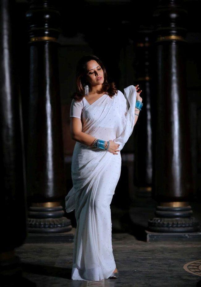 Anasuya Looking Beautiful In White Saree