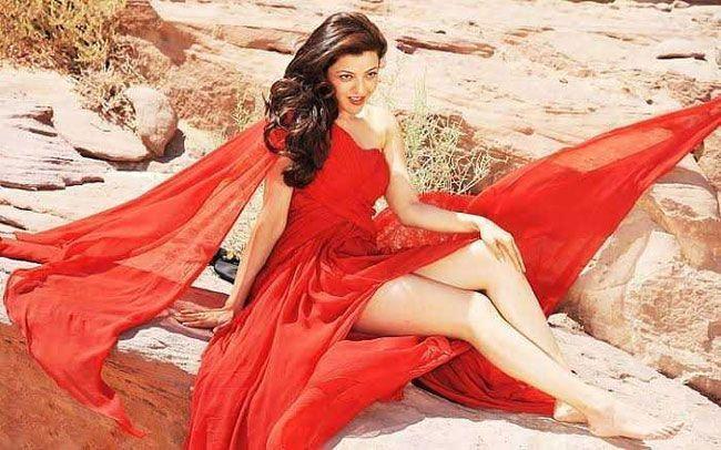 Kajal Aggarwal Beautiful Looks In Red Dress