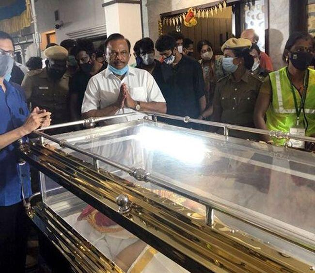 Celebs Attends The Funeral Of SP Balu