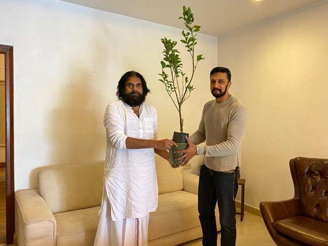 Kichcha Sudeep Meets Pawan Kalyan At His Office