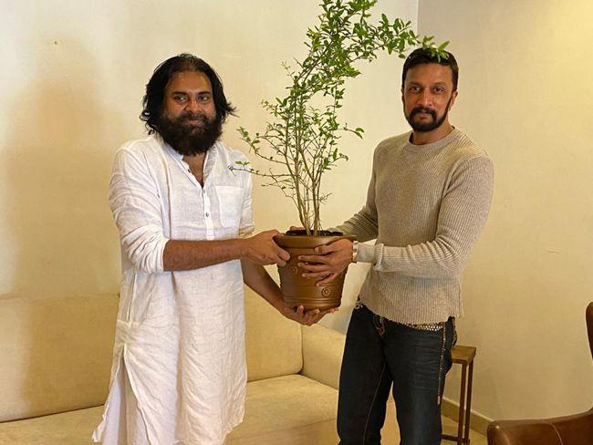 Kichcha Sudeep Meets Pawan Kalyan At His Office