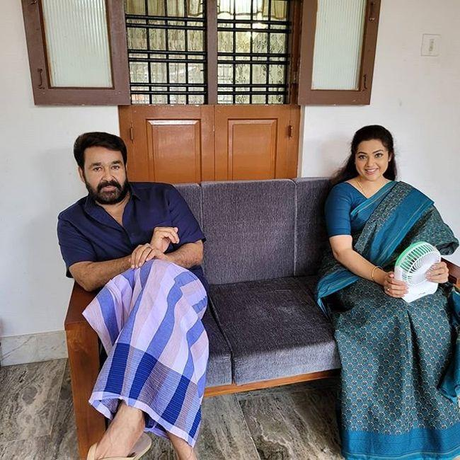 Mohanlal And Meena On The Sets Of Drishyam 2