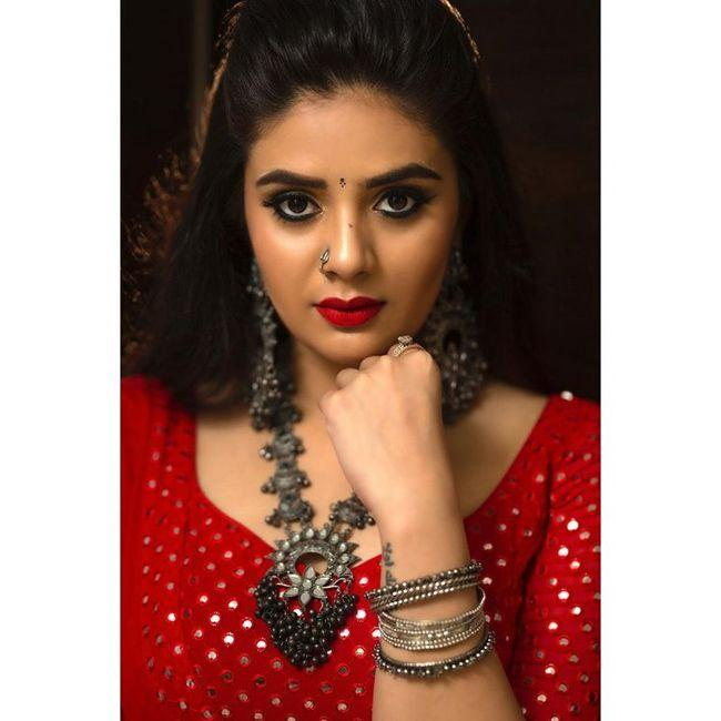 Sreemukhi Awesome In Red