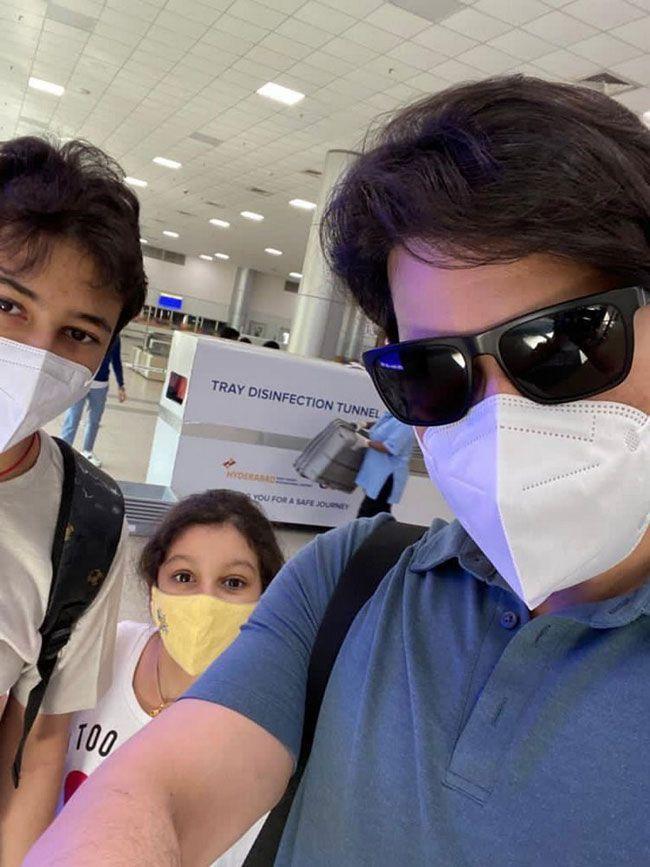 Mahesh Babu And His family at Airport