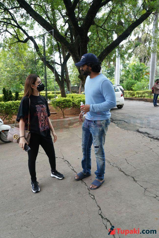 Tamannah And satya Dev At Dubbing Studio In Hyderabad