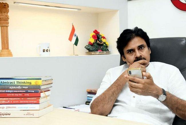 Pawan Kalyan Snapped In Janasena Office