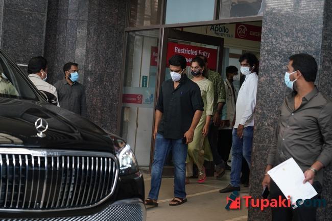 Ram Charan and Upasana at Apollo hospital for sai dharam tej