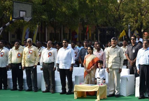 Chandrababu Naidu Family At NTR Model School Celebrations