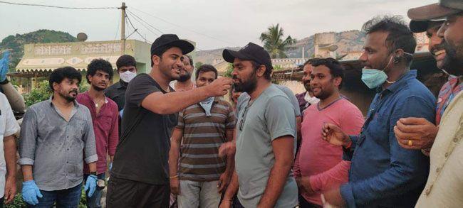 Director Kishore Reddy birthday celebrations on the sets of Sreekaram