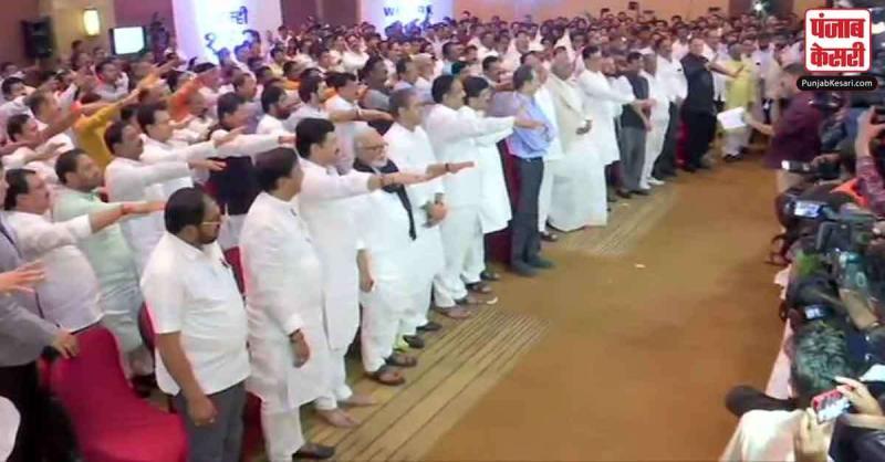 महाराष्ट्र में कांग्रेस-NCP-शिवसेना का शक्ति प्रदर्शन, 162 विधायकों ने ली एकजुटता की शपथ