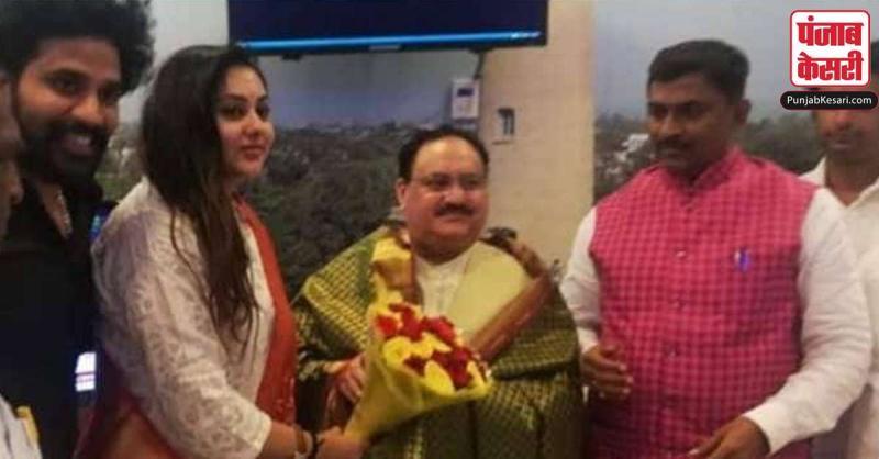 नड्डा तमिलनाडु में माहौल बनाने पहुंचे, अभिनेत्री नमिता भाजपा में शामिल