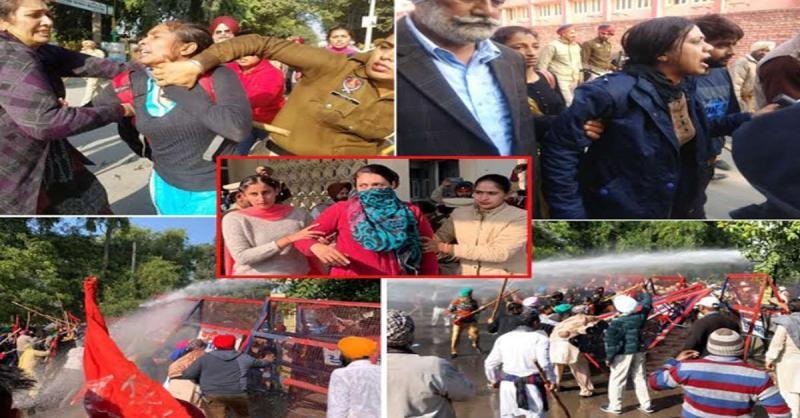 पंजाब : फरीदकोट में शारीरिक शोषण की पीडि़त महिला डॉक्टर को न्याय मांगने पर पुलिस ने पानी की बौछारों के साथ भांजी लाठियां, अश्रुगैस के गोले भी छोड़े,  कई जख्मी