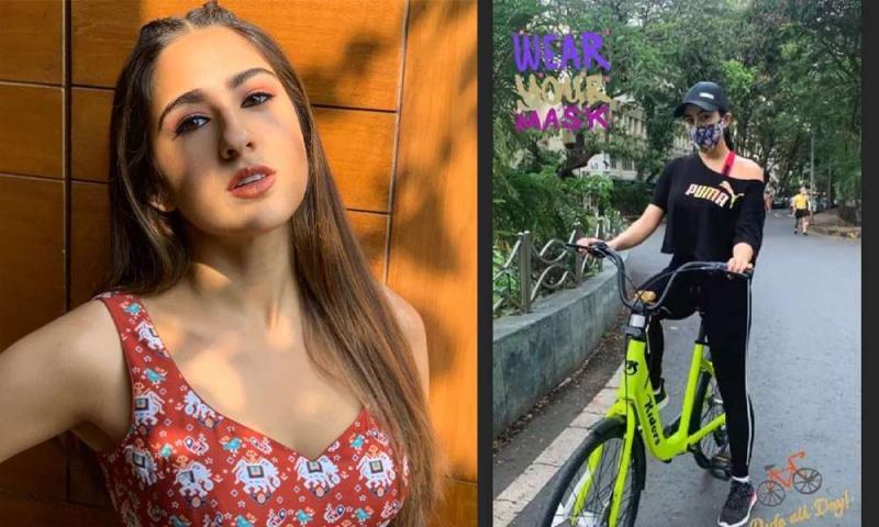 लॉकडाउन के बीच सारा अली खान भाई इब्राहिम के साथ साइकिल राइड एन्जॉय करती आई नजर,देखें तस्वीरें