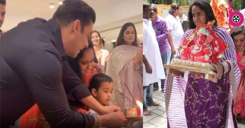 सलमान खान के घर गणपति बप्पा का हुआ स्वागत, परिवार के बाकी सदस्यों के साथ गणेश जी की आरती
