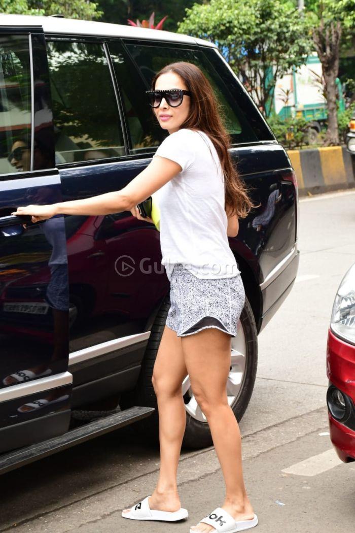 Malaika Arora in shorts at yoga class