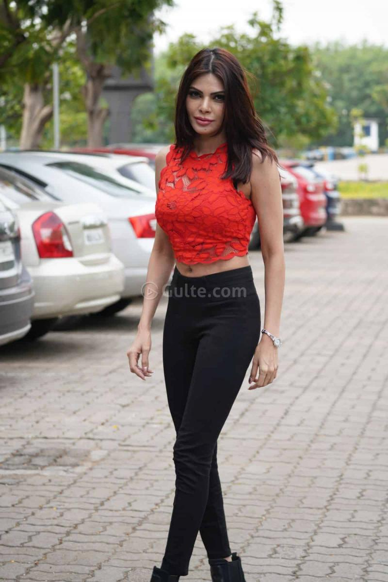 Red Rose Girl Sherlyn Chopra At Hyd Airport