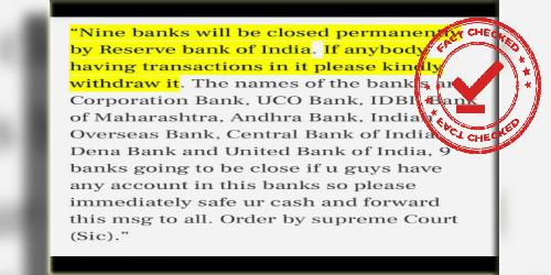 RBI Did Not Notify The Closing Of 9 National Banks