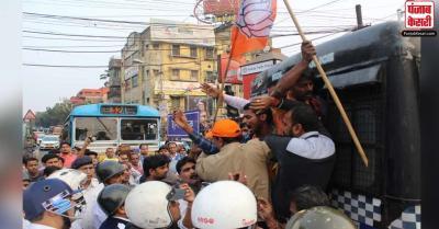 पश्चिम बंगाल : पार्टी कार्यकर्ता की हत्या के विरोध में रैली निकालने से रोकने पर पुलिस से भिड़े बीजेपी समर्थक