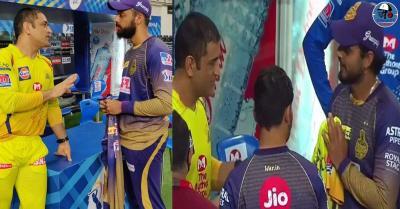 IPL 2020: एमएस धोनी ने नीतीश राणा को दी जर्सी तो युवा स्पिनर वरुण चक्रवर्ती को मिला 'थाला' से ज्ञान