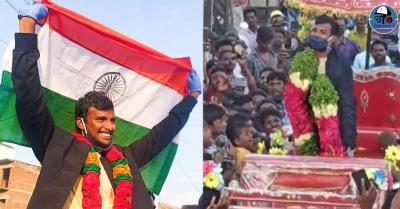 ऑस्ट्रेलिया से भारत लौटे टी नटराजन का हुआ भव्य स्वागत,गांव में की रथ की सवारी