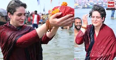 प्रयागराज : मौनी अमावस्या पर प्रियंका गांधी ने संगम में लगाई डुबकी, खुद चलाई नाव और किया पूजन