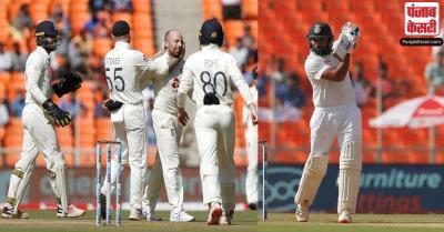 अहमदाबाद टेस्ट : भारत के टी ब्रेक तक छह विकेट पर 153 रन, अर्धशतक से चूके रोहित शर्मा