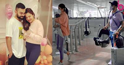 कोहली फैमिली एयरपोर्ट पर हुई स्पॉट, अनुष्का शर्मा ने बेटी वामिका को गोद में संभाला तो पापा विराट ने कैरी किया सामान