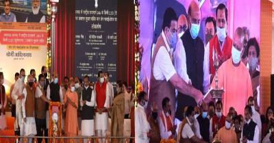 CM योगी समेत रक्षामंत्री राजनाथ और गडकरी ने किया पुलों का लोकार्पण और शिलान्यास