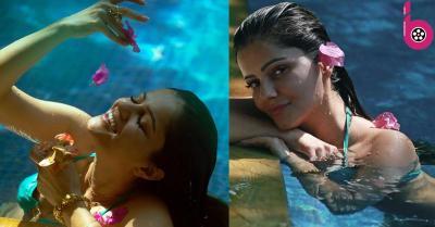 स्विमिंग पूल में आराम फरमाती नजर आईं रुबीना दिलैक,ब्लू बिकिनी में दिखाया जलवा