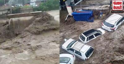 धर्मशाला में अचानक आई बाढ़ ने मचाई तबाही, कहीं गिरे पेड़, तो कहीं बहे मकान और कार