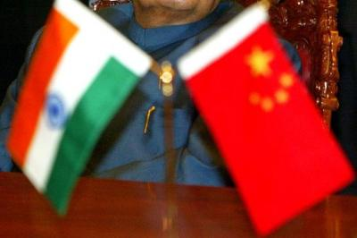 Indian and Chinese flags.