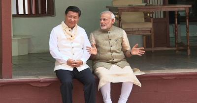 Narenda Modi and China's President Xi Jinping in Gujarat in 2014. Credit: PTI