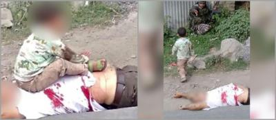 Photographs of a three-year-old Kashmiri boy, sitting on the bullet-ridden body of his grandfather, and being asked to move away by a CRPF soldier. The photographs were probably taken by a policeman or paramilitary jawan and circulated on social media by BJP leaders and also Kashmir police officers.