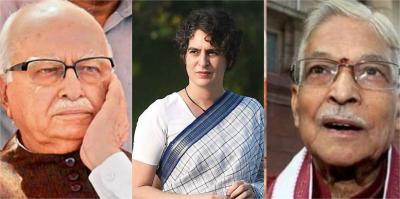 L.K. Advani, Priyanka Gandhi and Murli Manohar Joshi. Photo: PTI Illustration: The Wire