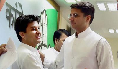 File image of Jyotiraditya Scindia and Sachin Pilot. Photo: PTI