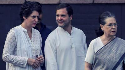 Priyanka Gandhi Vadra, Rahul Gandhi and Sonia Gandhi. Photo: PTI