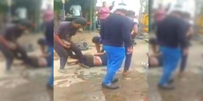A screengrab of the video showing the cow vigilantes' attack on a man on suspicion of transporting beef, in Gurgaon.