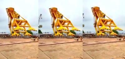 A screengrab of the collapsing crane at the Hindustan Shipyard.