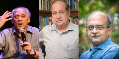 Arun Shourie, N. Ram and Prashant Bhushan. Photos: The Wire/PTI