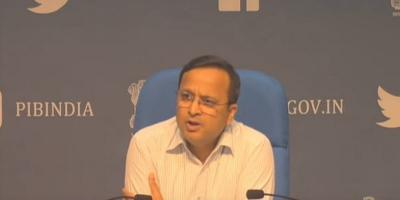 Health ministry joint secretary Lav Agarwal, the Government of India's public face for the COVID-19 crisis, at the daily press briefing on April 11, 20120.