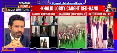 A screengrab of the show on Times Now which aired a live chat, claiming it was a secret admission of Umar Khalid's 'terror links'.