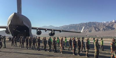 An IAF transport aircraft C17 brings in essentials supplies at a base in Ladakh, Tuesday, Sept, 15, 2020, as the security forces gear up for winter amid tensions at the LAC.  Photo: PTI