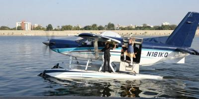 PM Modi boards a sea-plane on the Sabarmati river in Ahmedabad on the last day of campaigning before the Gujarat assembly elections in December 2017. Photo: narendramodi/Twitter