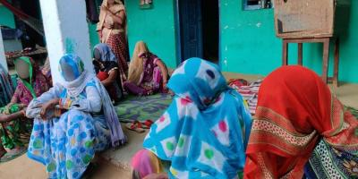 Neighbours and relatives at the Hathras rape victim's house. Photo: Ismat Ara