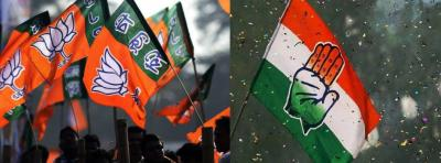 Flags of the Congress and BJP. Photo: PTI