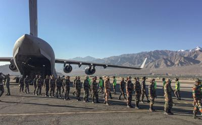 An Indian Air Force transport aircraft C17 brings in essentials supplies at a base in Ladakh, Tuesday, Sept, 15, 2020, as the security forces gear up for winter amid tensions at the LAC.  Photo: PTI